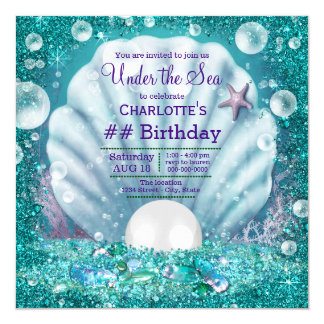 Purple Teal Pearl Under the Sea Birthday Party Card