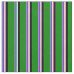 [ Thumbnail: Purple, Teal, Pink, Black & Green Colored Lines Fabric ]