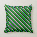 [ Thumbnail: Purple, Teal, Pink, Black & Green Colored Lines Throw Pillow ]