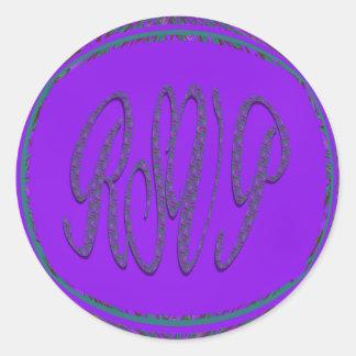 purple teal rsvp classic round sticker