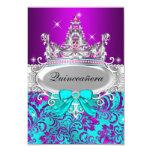 Purple Teal Shimmer Tiara Quinceanera Invitation