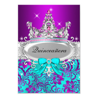 Purple Teal Shimmer Tiara Quinceanera Invitation