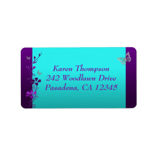 Purple Teal Silver Butterfly Address Label 2