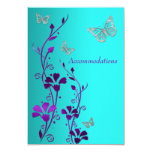 Purple Teal Silver Floral, Butterflies Enclosure Invitations