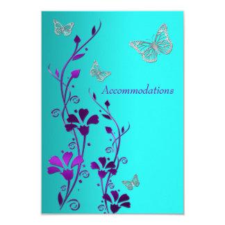 Purple Teal Silver Floral, Butterflies Enclosure Invitations