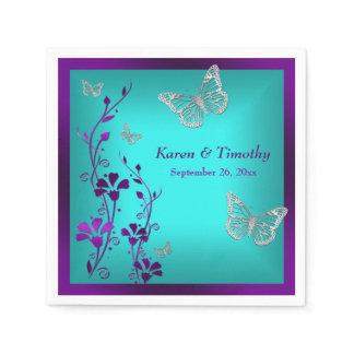 Purple Teal Silver Floral, Butterflies Napkins