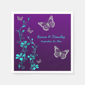 Purple Teal Silver Floral, Butterflies Napkins 2