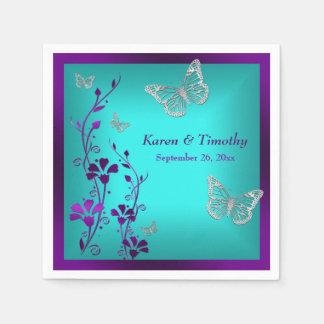Purple Teal Silver Floral, Butterflies Napkins Standard Cocktail Napkin