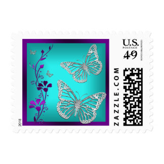 Purple, Teal, Silver Floral, Butterflies Postage 2 Postage Stamps
