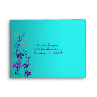Purple Teal Silver Floral Butterfly A2 Envelope