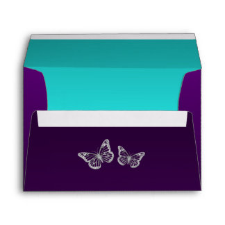 Purple Teal Silver Floral Butterfly A7 Envelope