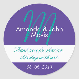 Purple Teal Simple Initial Wedding Favor Thank You Classic Round Sticker