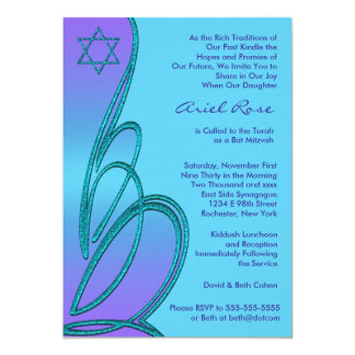 Purple Teal Star of David Bat Mitzvah Card