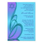 """Purple Teal Star of David Bat Mitzvah 5"""" X 7"""" Invitation Card"""