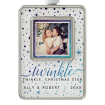 Purple & Teal Stars & Falling Snow Dated Photo Christmas Ornament