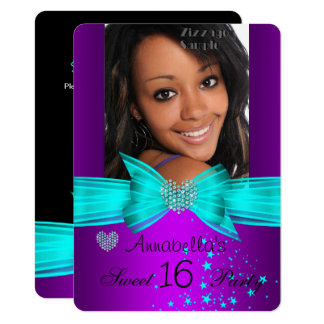 Purple Teal Sweet 16 Birthday Party Diamond Photo Card