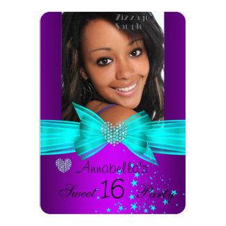 Purple Teal Sweet 16 Birthday Party Diamond Photo 4.5x6.25 Paper Invitation Card