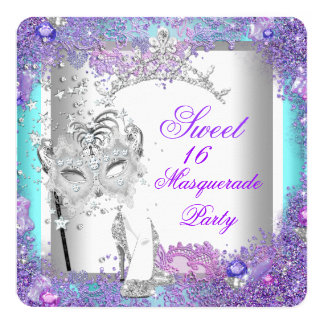 Purple Teal Sweet Sixteen 16 Masquerade Party 5.25x5.25 Square Paper Invitation Card