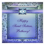 Purple Teal Sweet Sixteen Party Banner Posters