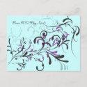 Purple Teal Swirls RSVP postcard
