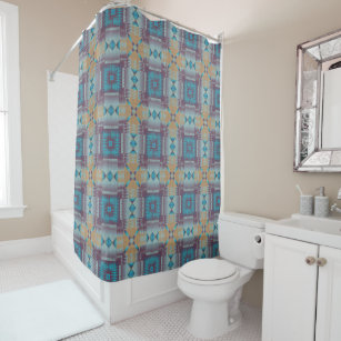 Purple Teal Taupe Native Tribal Mosaic Pattern Shower Curtain