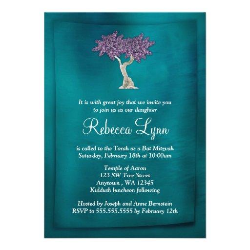 Purple Teal Tree of Life Bat Mitzvah Invitations