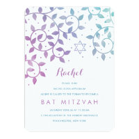 Purple Teal Tree of Life Bat Mitzvah Invitations