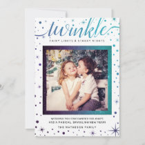Purple & Teal Twinkle Snowflakes Enchanted Holiday Card