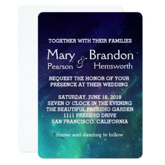 Purple & Teal Universe Nebula Wedding Card