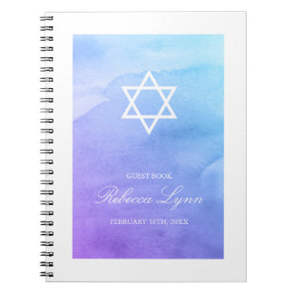Purple Teal Watercolor Bat Mitzvah Guest Book