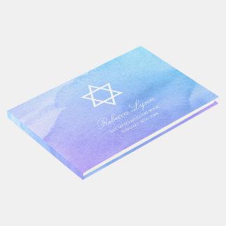 Purple Teal Watercolor Bat Mitzvah Guest Book
