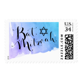 Purple Teal Watercolor Bat Mitzvah Postage