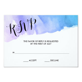 Purple Teal Watercolor Bat Mitzvah RSVP Card