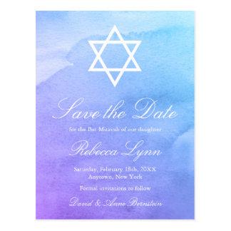 Purple | Teal Watercolor Bat Mitzvah Save the Date Postcard