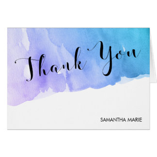 Purple Teal Watercolor Bat Mitzvah Thank You Card