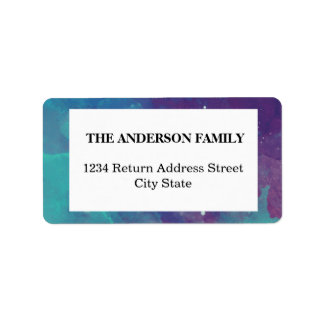 Purple teal watercolor blend family label