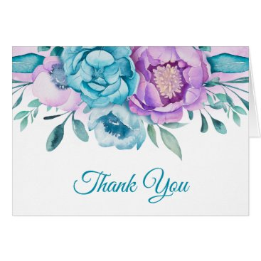 Purple Teal Watercolor Floral Thank You Card