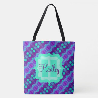 Purple/Teal Watercolor Pattern II with Custom Text Tote Bag