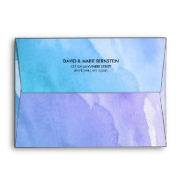 Purple Teal Watercolor Return Address A7 Envelope