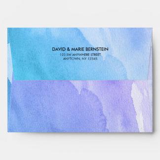 Purple Teal Watercolor Return Address A7 Envelope