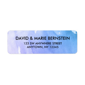 Purple Teal Watercolor Return Address Label