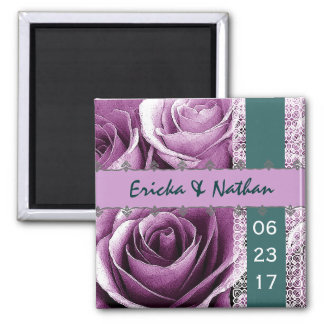 Purple & Teal Wedding Rose Bouquet with Lace 2 Inch Square Magnet