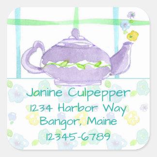 Purple Teapot Return Address Custom Name Square Sticker
