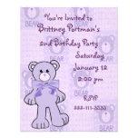 Purple Teddy Bear Birthday Invitation