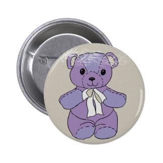 PURPLE TEDDY BEAR BUTTON