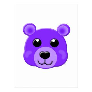 purple teddy bear face postcard