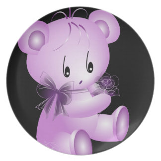 Purple Teddy Bear With Rose Black Background Dinner Plates