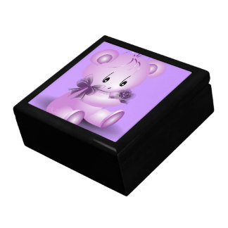 Purple Teddy Bear With Rose Jewelry Box