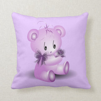 Purple Teddy Bear With Rose Throw Pillow