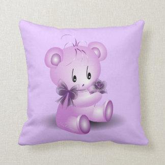 Purple Teddy Bear With Rose Throw Pillow